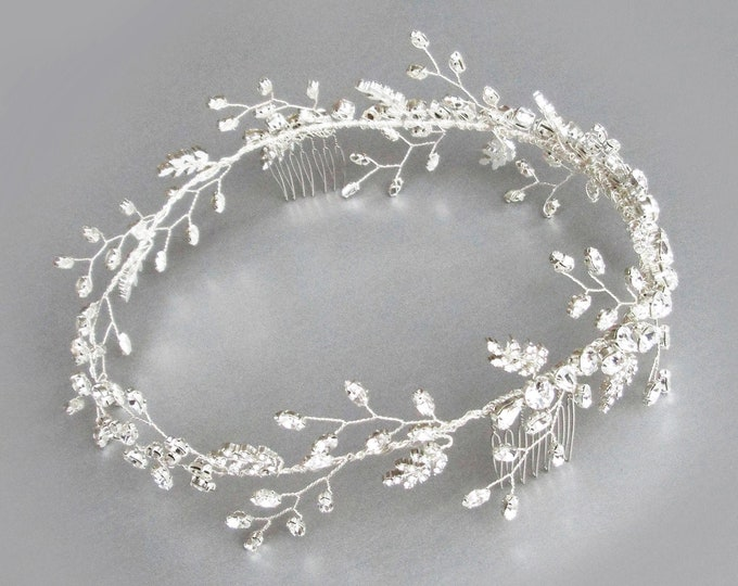 Ready to ship - Swarovski crystal circlet headband in silver, Bridal crystal halo headband, Wedding rhinestone branch and  leaf hair vine