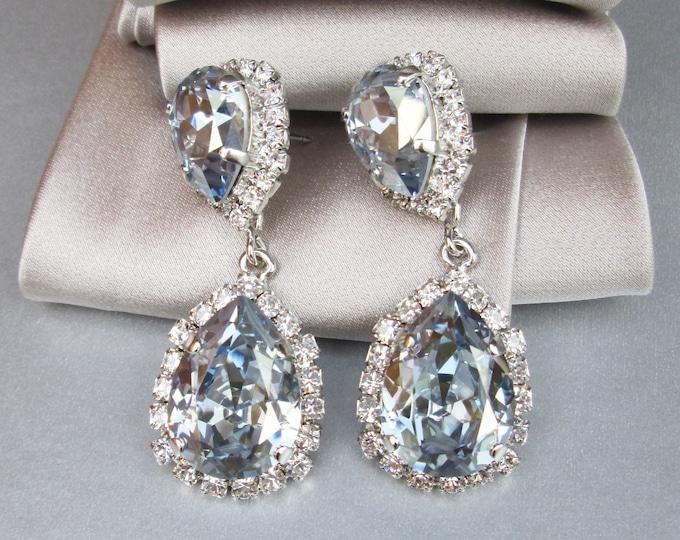 Dusty blue teardrop dangling earrings, Something blue Bridal Swarovski crystal earrings, Faint blue crystal wedding earrings, Pale blue