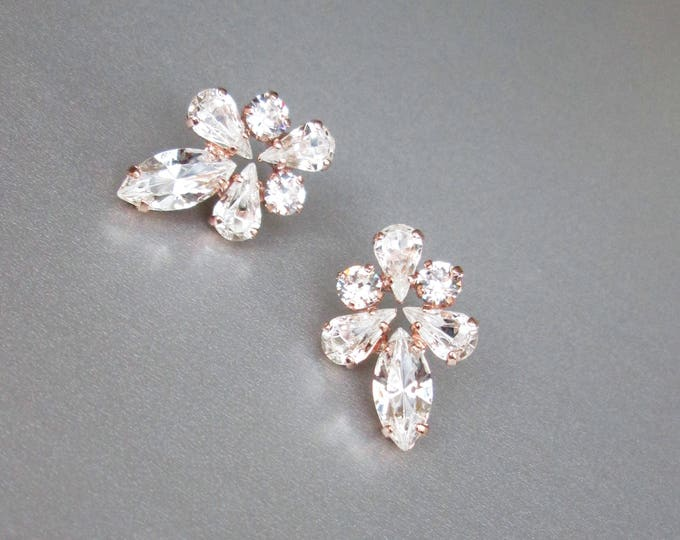 Rose gold Bridal crystal earrings, Swarovski crystal bridal stud earrings, Swarovski earrings, Bridal rhinestone earrings, Wedding studs