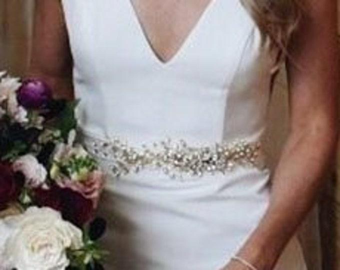 Swarovski applique bridal belt sash, Bridal crystal applique, Wedding crystal belt, Swarovski crystal floral belt in gold, silver, rose gold