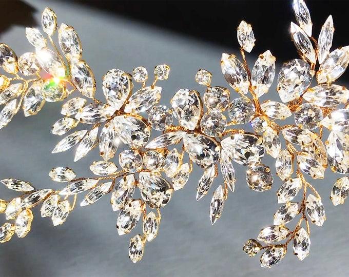 Exquisite Swarovski crystal applique, Bridal Swarovski crystal design, Wedding dress floral embellishment, Gold, silver, rose gold