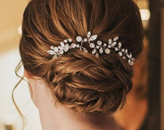 Swarovski crystal bridal hair vine, Bridal hair comb, Wedding hair comb in rose gold, gold, silver, Opal bridal rhinestone headpiece