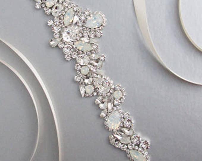Bridal belt sash, Crystal belt in silver or gold, Wedding belt, Waist sash, Swarovski Opal bridal belt, Rhinestone bridal Swarovski sash