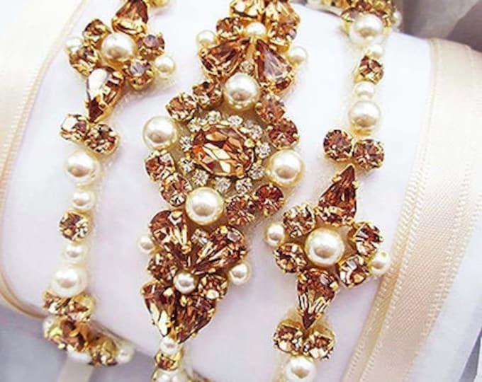 Topaz Champagne Bridal belt, Swarovski bridal belt sash, Wedding belt in Gold, Silver, Rose gold, Thin belt, Skinny belt crystal and pearl