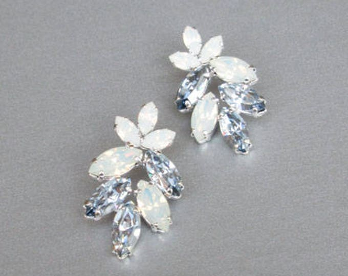 Bridal crystal earrings, Swarovski crystal opal earrings, Swarovski opal earrings, Wedding earrings something blue, gold, silver, rose gold