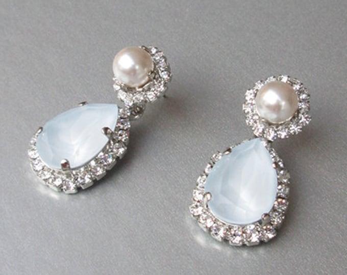 Pale blue Bridal crystal earrings, Swarovski crystal earrings, Teardrop dangling earrings, Powder blue crystal and pearl wedding earrings