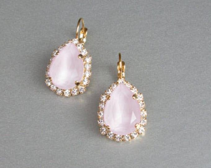 Bridal pale pink earrings, Swarovski crystal pink bridal earrings, Drop earrings, Powder rose wedding earrings in gold, silver, rose gold,