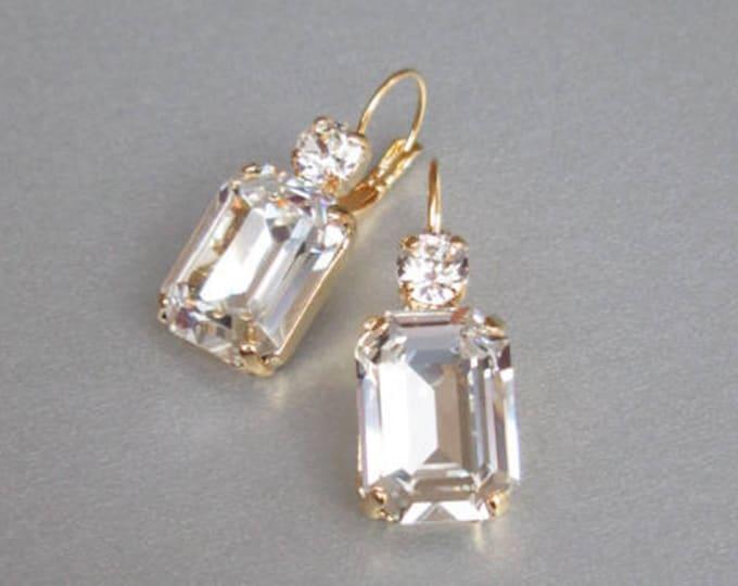 Swarovski crystal bridal gold earrings, Emerald cut bridal earrings, Rhinestone earrings in gold, rose gold, silver, Wedding drop earrings
