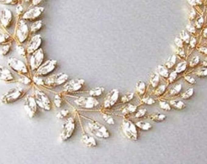 Bridal Swarovski crystal necklace in gold or silver, Bridal statement necklace, Swarovski bridal bib necklace, Sparkly rhinestone necklace
