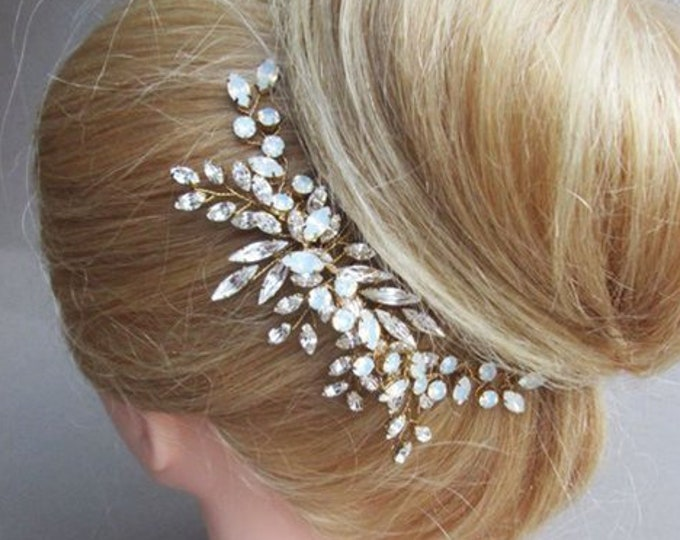 Gold Opal Swarovski crystal hair comb, Bridal crystal comb, Rhinestone bridal comb, Opal Wedding hair comb, Bridal comb in gold or silver