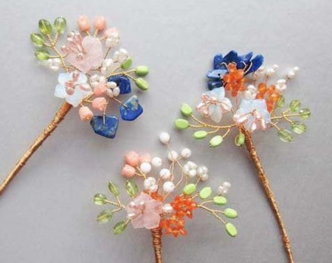 Custom color Bridal hair pins, Hair jewelry, Wedding hair pins, Gemstone hair pins, Special occasion hair pins, Bridesmaids or MOB gift