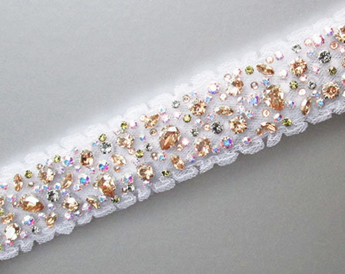 Swarovski crystal bridal belt sash, Beaded Bridal crystal belt, Rhinestone Wedding belt, Custom Color belt, Clasp Fitted bridal belt