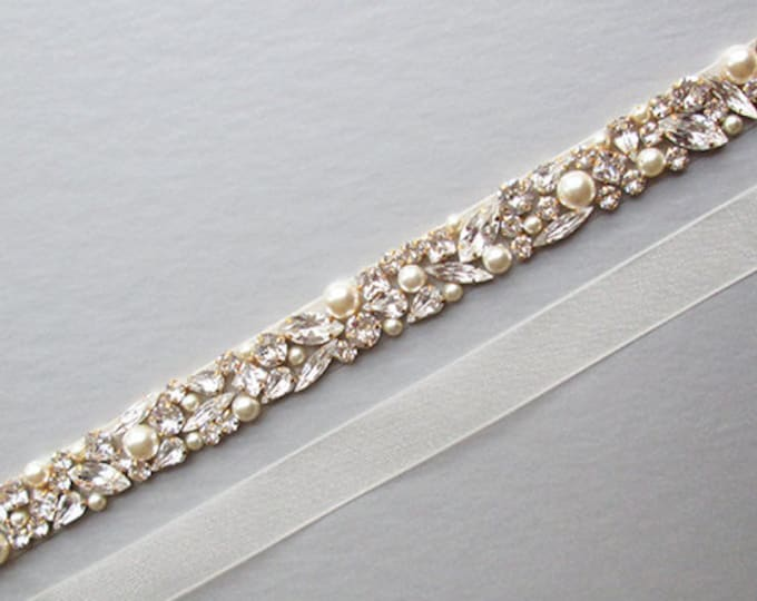 Bridal belt, Swarovski crystal and pearl sash, Beaded rhinestone and pearl crystal waist sash, Thin crystal belt in gold, silver, rose gold