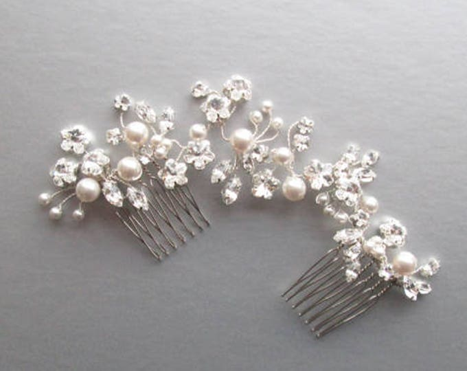 Swarovski crystal and pearl hair vine, Bridal comb, Wedding hair comb hair vine, Crystal and pearl hair comb, Bridal comb in gold or silver