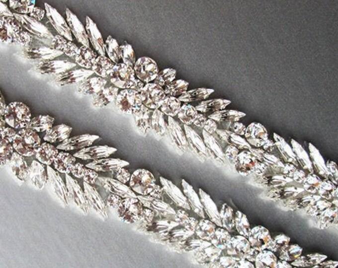 Swarovski crystal bridal belt sash, One inch crystal belt, Wedding belt, Silver bridal rhinestone belt, Fitted belt with clasp closure