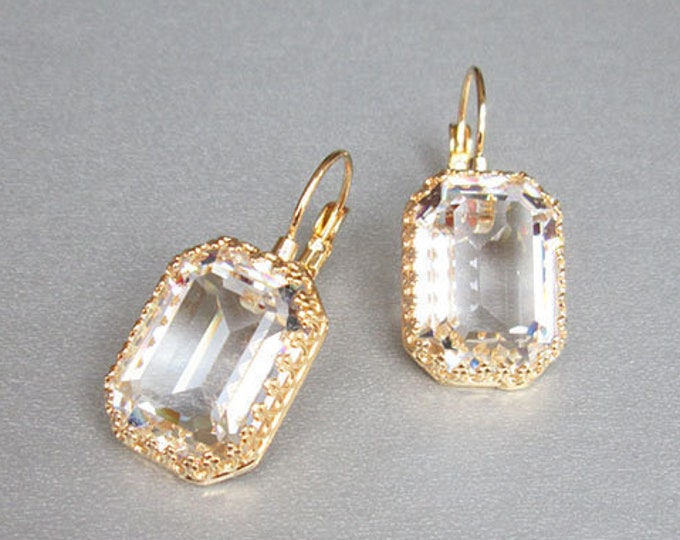 Transparent Swarovski crystal bridal earrings, Emerald cut drop earrings,  Clear stone earrings in gold, silver, rose gold, Wedding earrings