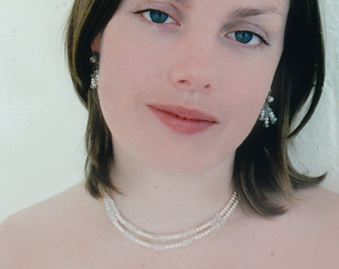 Bridal necklace and earrings set, Bridal jewelry set pearl and aquamarine, Gemstone aquamarine necklace set, Wedding jewelry set,