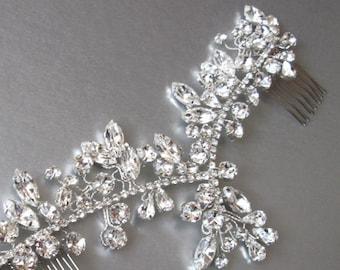 Swarovski crystal hair vine bridal comb, Wedding hair comb, Swarovski crystal hair vine, Sparkly bridal head piece in silver or gold finish