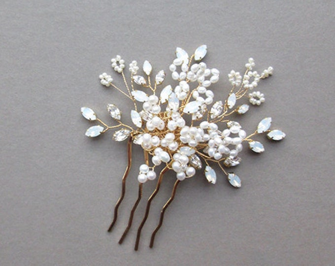 Swarovski crystal hair comb, Bridal opal and pearl hair comb, Rhinestone bridal comb, Wedding comb in gold, silver, rose gold, White opal