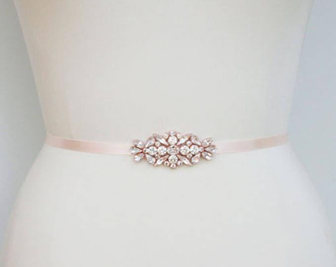 Rose gold blush bridal belt sash, Swarovski crystal belt sash, Pink Wedding belt sash, Rhinestone bridal belt in gold, silver or rose gold