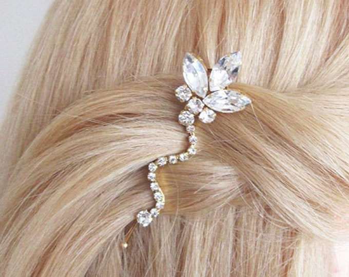 Bridal crystal bobby pin, Swarovski crystal bobby pin, Wedding hair pin, Rhinestone bobby pin, Swarovski clip in gold, silver, rose gold