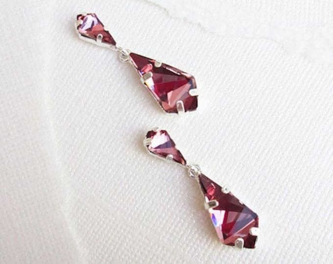 Swarovski crystal bridal drop earrings, Pink Bridal dangling earrings, Wedding rhinestone earrings in gold, silver, rose gold, Antique pink