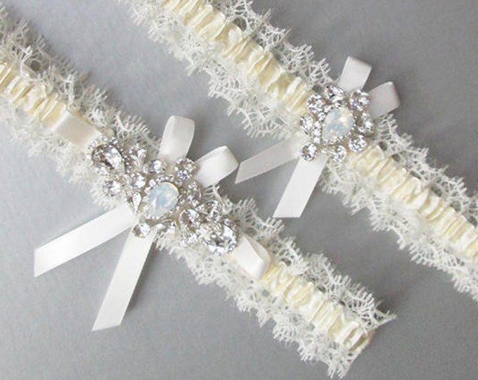 Swarovski bridal garter set, White opal bridal garter set, Wedding garter, Swarovski bridal Rhinestone sparkly garter set gold or silver