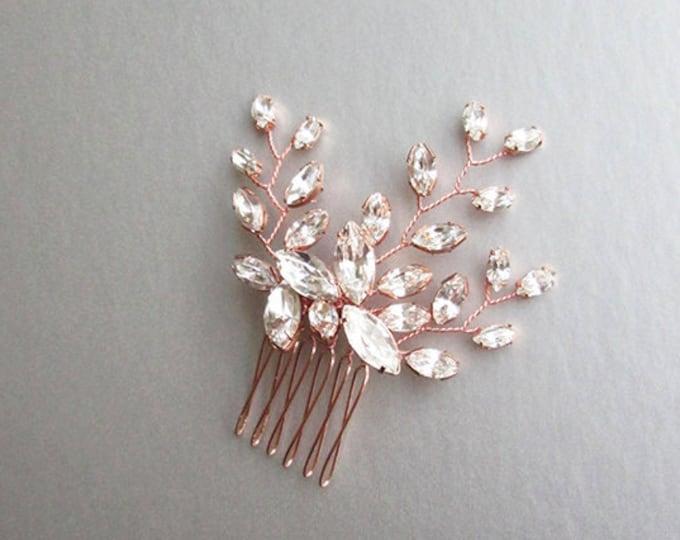 Swarovski crystal hair comb, Bridal small hair comb, Dainty crystal hair comb, Rose gold bridal headpiece, Wedding hair comb, Bridal comb