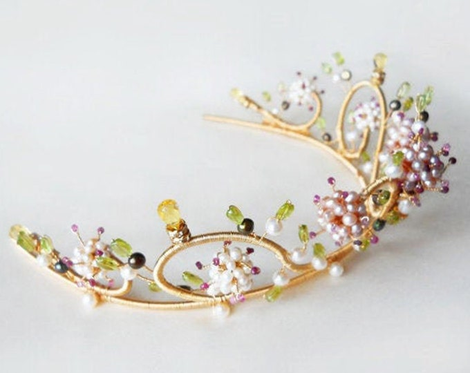 Bridal gold tiara, Ruby and pearl multi-gemstone floral motif gold tiara, Wedding tiara with gemstones and freshwater pearls