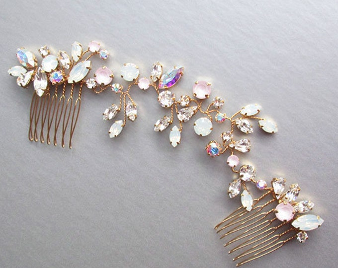 Iridescent Swarovski crystal bridal hair vine, Bridal hair comb, Wedding hair comb in rose gold, gold, silver, Opal, pink, AB Swarovski