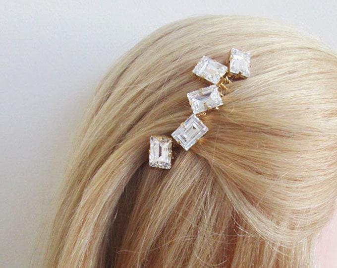 Modern Swarovski crystal bridal hair comb, Wedding hair comb, Swarovski bridal comb, Minimalist bridal hair vine, Small bridal comb clip
