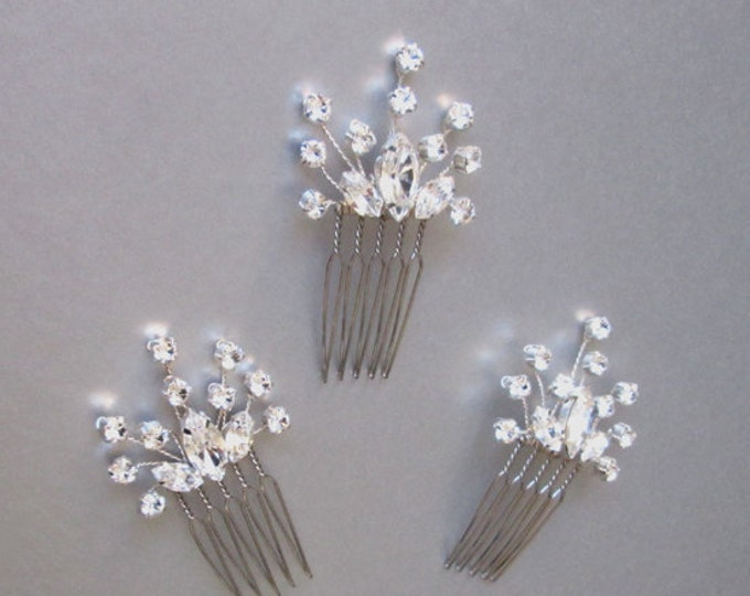 Swarovski crystal hair combs, Bridal crystal hair combs, Wedding hair pins, Swarovski crystal hair combs, Sparkly bridal spray pins combs