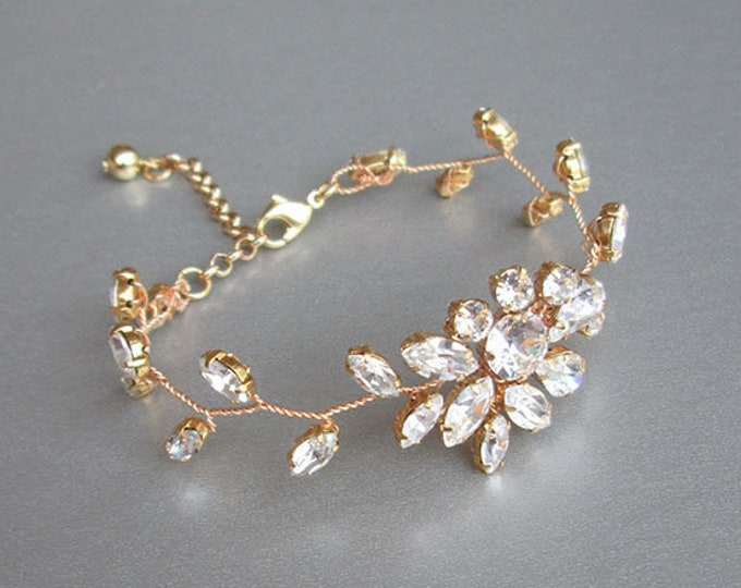 Swarovski crystal bridal bracelet, Delicate Swarovski crystal bracelet, Wedding rhinestone bracelet in gold, silver, rose gold, Leafy vine