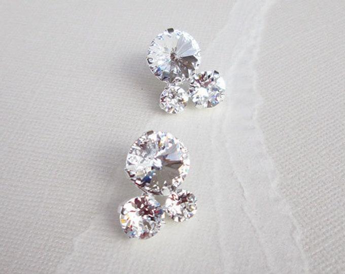 Swarovski crystal bridal earrings, Crystal cluster bridal studs, Stud rhinestone wedding earrings in gold, silver, rose gold