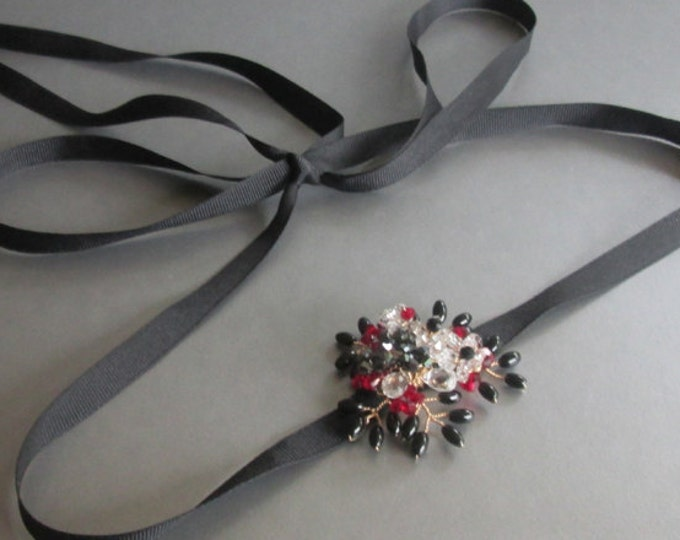 Little black belt, Bridal belt sash, Bridal crystal gemstone sash, Black onyx and Swarovski crystal belt, Black, red and white