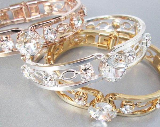 Swarovski crystal bridal bracelet, Swarovski bracelet, Wedding rhinestone bangle bracelet, Crystal bridal bracelet, Gold, rose gold, silver