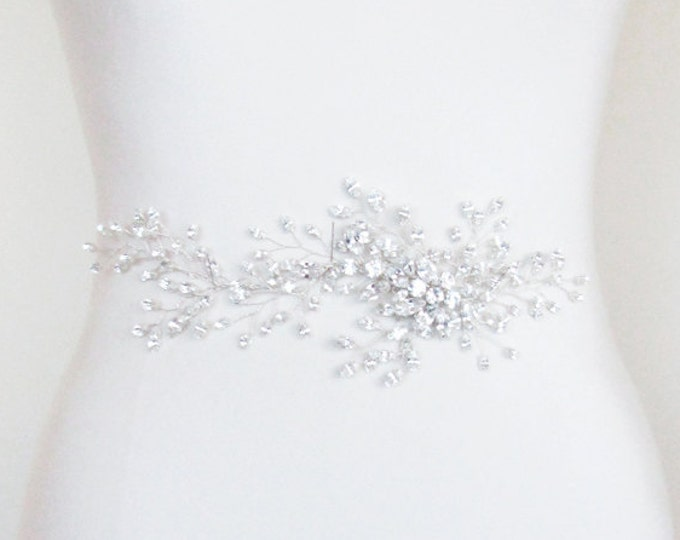 Bridal crystal applique for belt or headband, Bridal Swarovski crystal applique, Wedding dress applique, Bridal hair vine