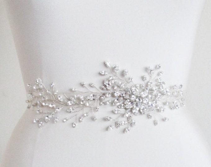 Exquisite crystal belt sash, Bridal Swarovski crystal belt, Wedding crystal belt, Swarovski crystal floral belt, Gold, silver, rose gold
