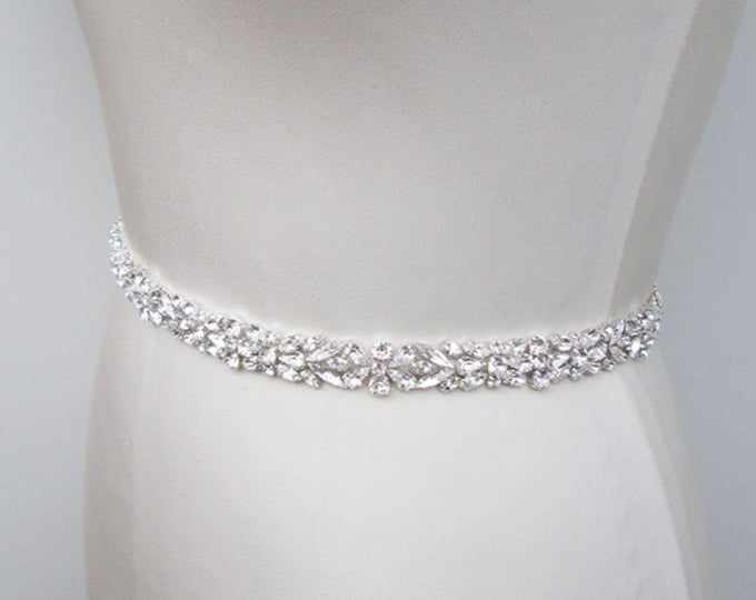 Swarovski crystal bridal belt sash, Bridal crystal belt, Wedding belt, Silver bridal rhinestone belt, Fitted bridal belt with clasp closure
