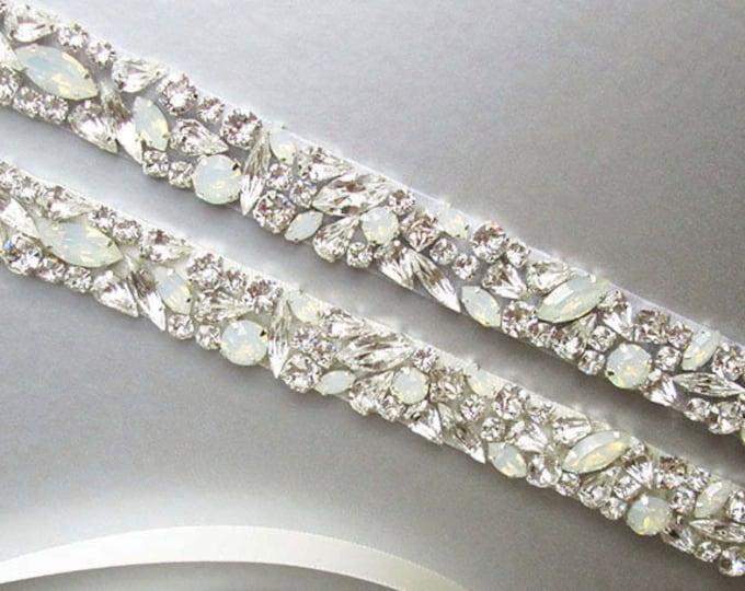 Opal bridal belt, Swarovski crystal sash, Beaded rhinestone crystal white opal waist sash, Wedding belt belt in gold or silver, rose gold