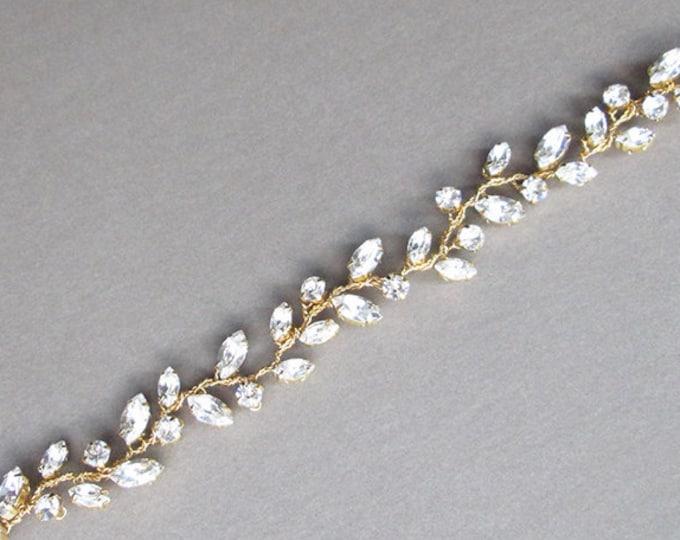 Swarovski crystal bridal bracelet, Swarovski bracelet, Wedding crystal rhinestone bracelet, Leaf vine bracelet in gold, rose gold, silver