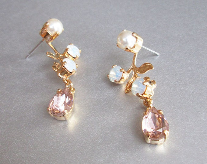 Bridal Swarovski earrings, Vintage style crystal and pearl earrings, Floral drop earrings in gold, silver, rose gold, Opal and pale pink