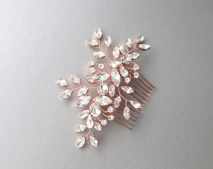Rose gold Swarovski crystal bridal hair vine, Bridal hair comb, Wedding hair comb, Rhinestone comb, Wedding hair vine