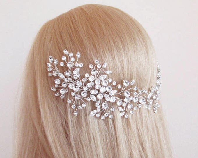 Swarovski crystal bridal hair vine, Bridal hair comb, Wedding hair comb, Swarovski bridal comb, Rhinestone hair comb vine, Wedding hair vine