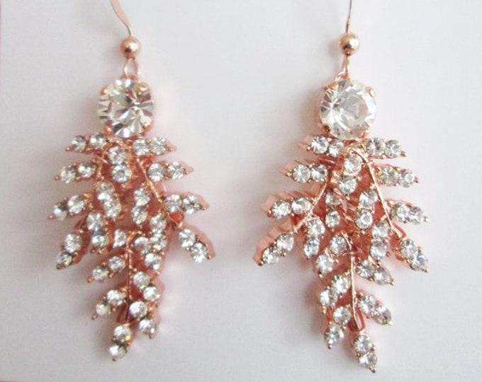 Rose gold bridal earrings, Swarovski crystal earrings, Bridal leaf earrings, Swarovski earrings, Wedding earrings, Rhinestone earrings