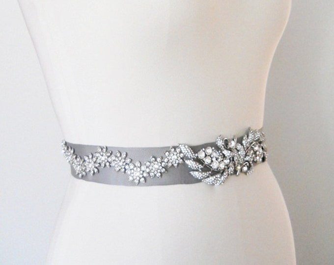 Bridal crystal belt sash, crystal bridal belt , Platinum silver grosgrain belt, Wedding Rhinestone ribbon sash