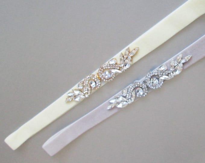 Swarovski crystal stretch velvet belt with clasp closure, Bridal crystal velvet belt, Fitted bridal belt in gold or silver, Rhinestone belt