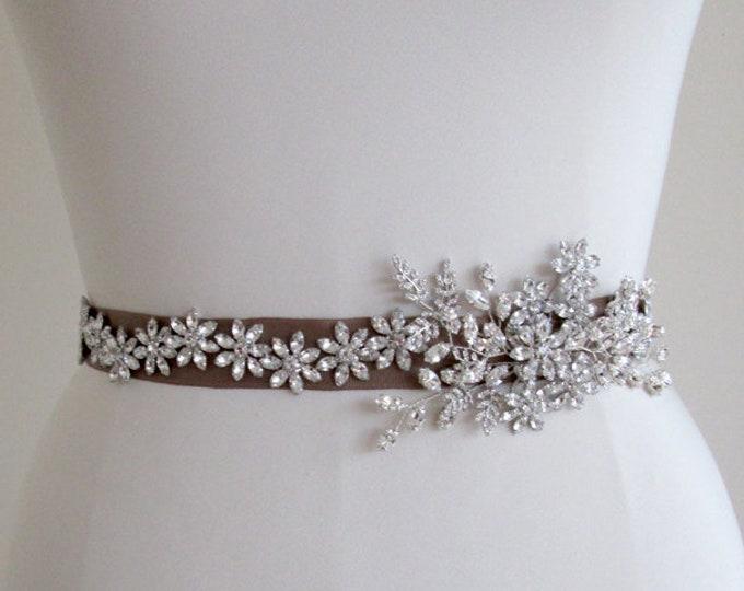 Crystal floral belt, Wedding belt sash, Rhinestone bridal belt, Waist sash grosgrain belt, Bridal crystal belt, Off center belt