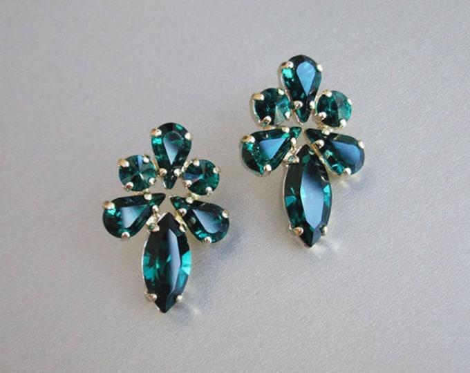 Emerald green Bridal crystal earrings, Swarovski crystal bridal stud earrings, Swarovski rhinestone studs in emerald green