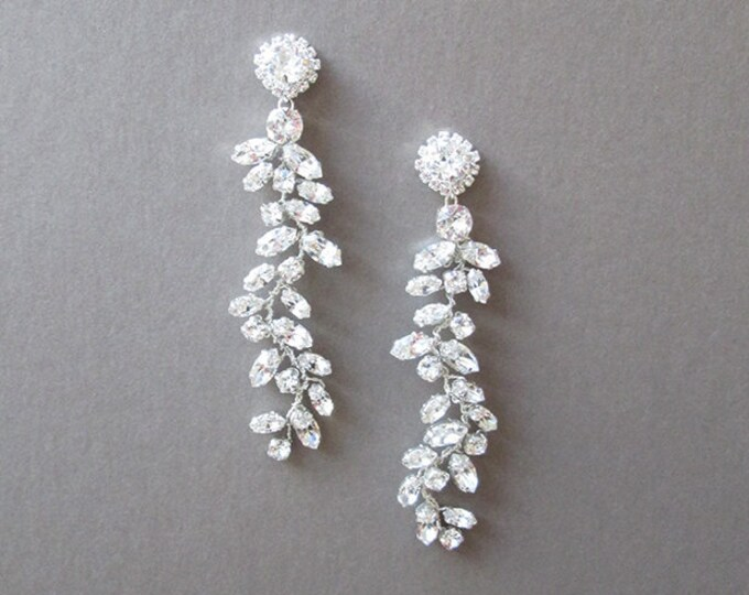 Bridal Swarovski crystal earrings, Long earrings, Crystal linear earrings, Swarovski earrings, Wedding earrings, Rhinestone leaf earrings